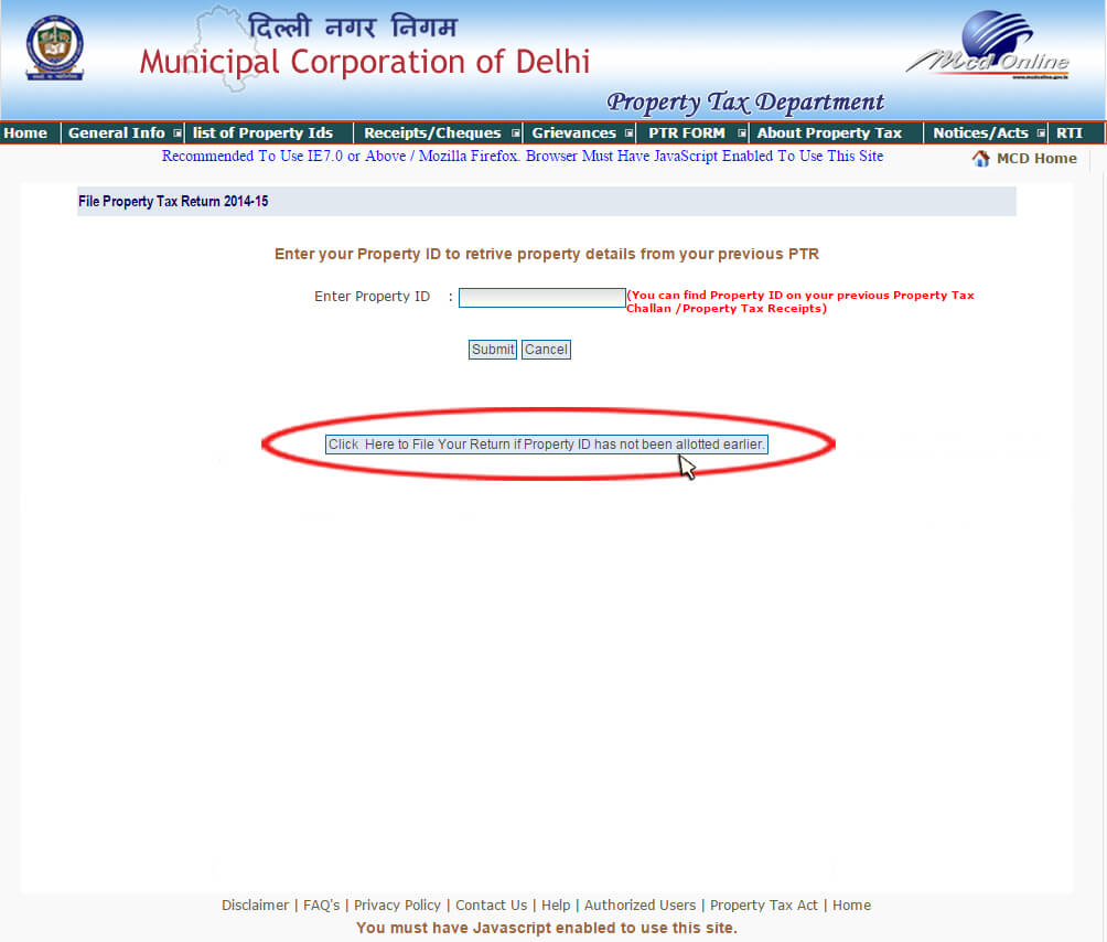 how to file property tax return online in delhi