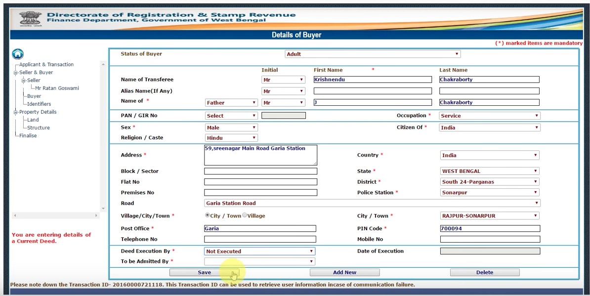 Property registration online in Kolkata